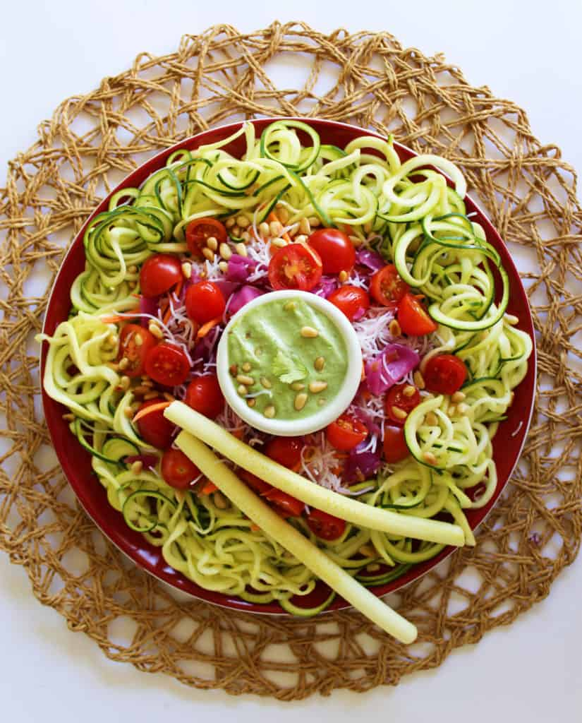 Zoodles and Things With Basil Cream