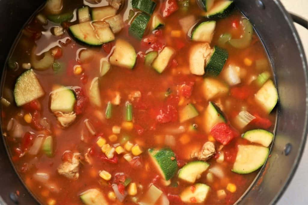Add tomatoes, broth and spices to pot