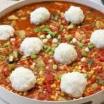 Serve gumbo with steamed rice