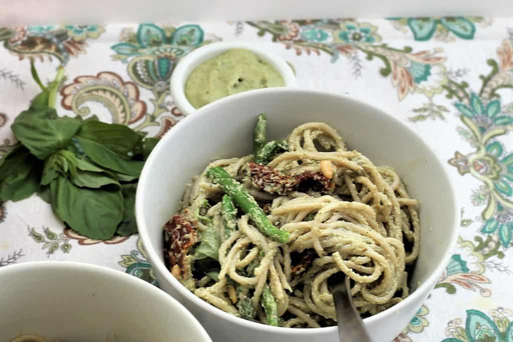 Basil Pesto Pasta With Sun Dried Tomatoes and Asparagus
