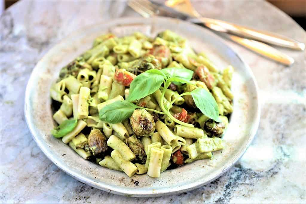 Roasted Tomato and Brussel Sprouts Pasta With Pesto