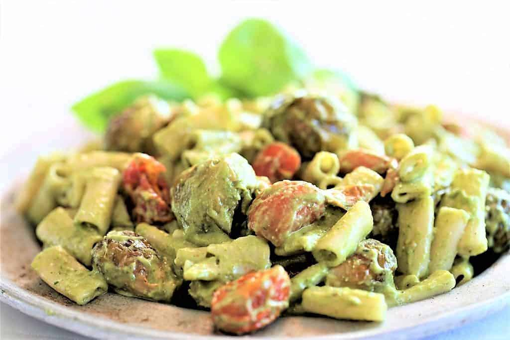 Roasted Tomato and Brussel Sprout Pasta With Pesto