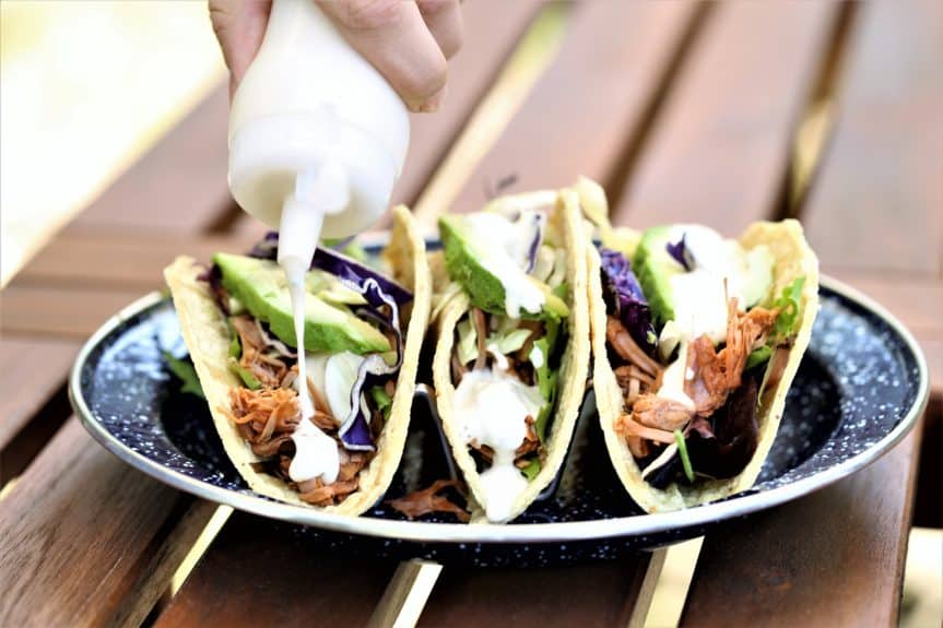 Smoky Jackfruit Tacos With Jalapeno Creme