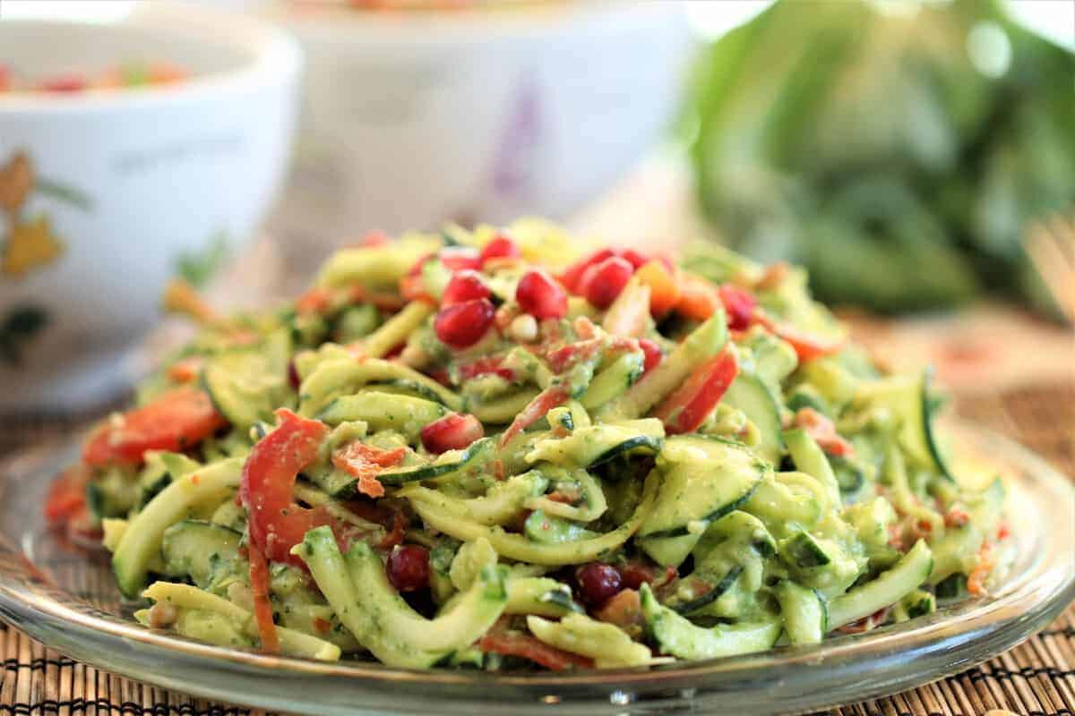 Zucchini and Yellow Squash Zoodles With Avocado Basil Pesto