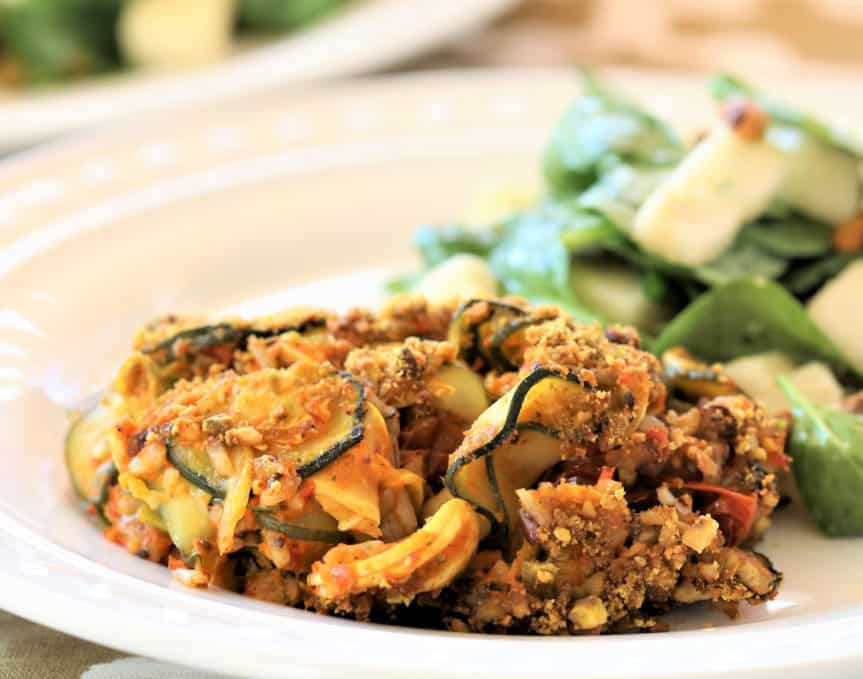 Zucchini Rice With Roasted Red Pepper Pesto