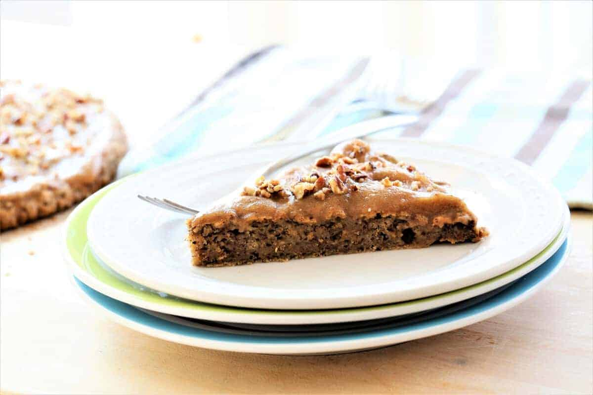 Cinnamon Breakfast Cake With Date Glaze is light and fluffy and vegan, gluten free and dairy free.
