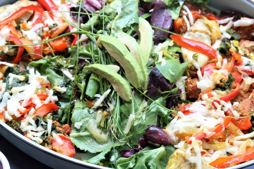 cauiflower crust vegetable pizza salad