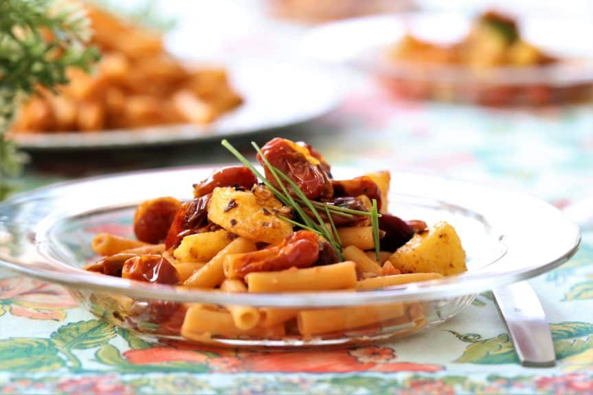 Lentil Pasta With Red Pepper Polenta