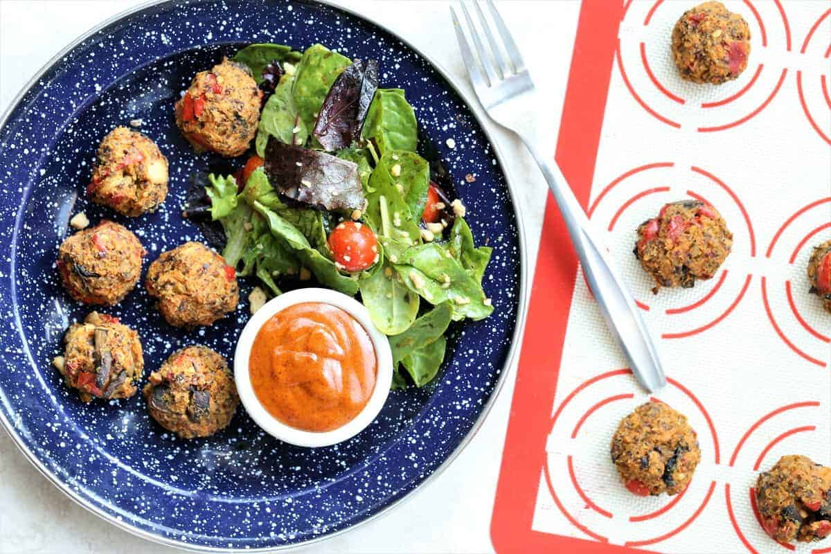 Veggie Balls With Hot Peanut Dressing