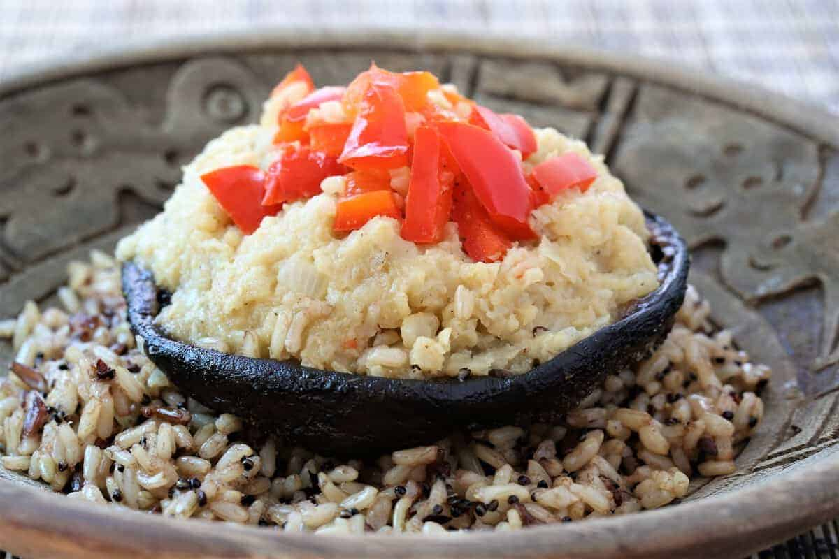 Grilled Portobello With Cauliflower Onion Mash