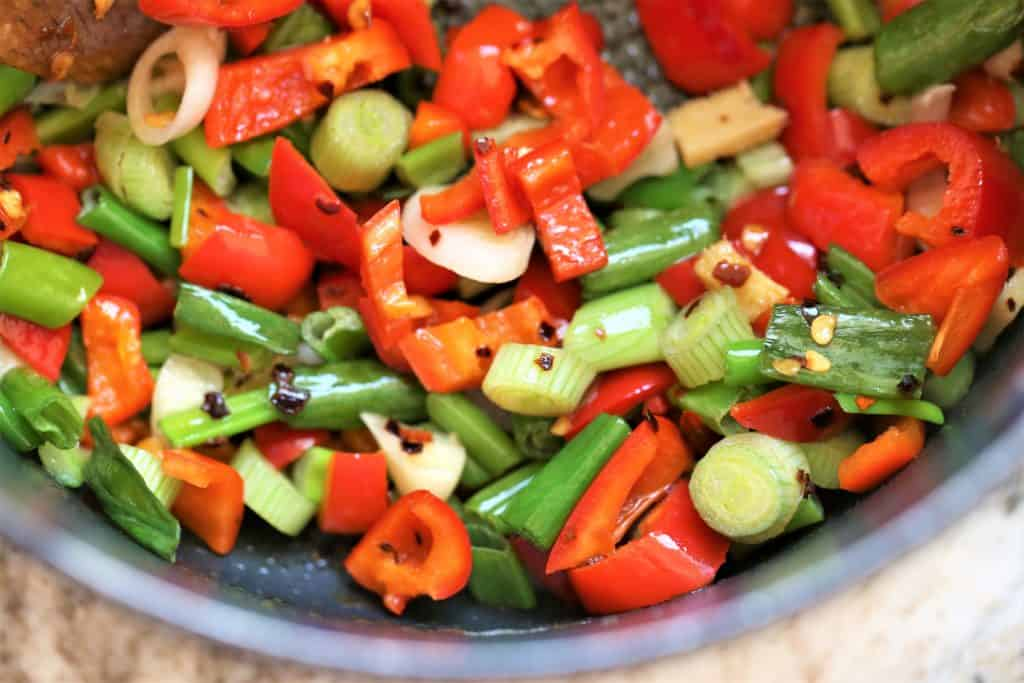 Stirfry Vegetables, garlic and ginger