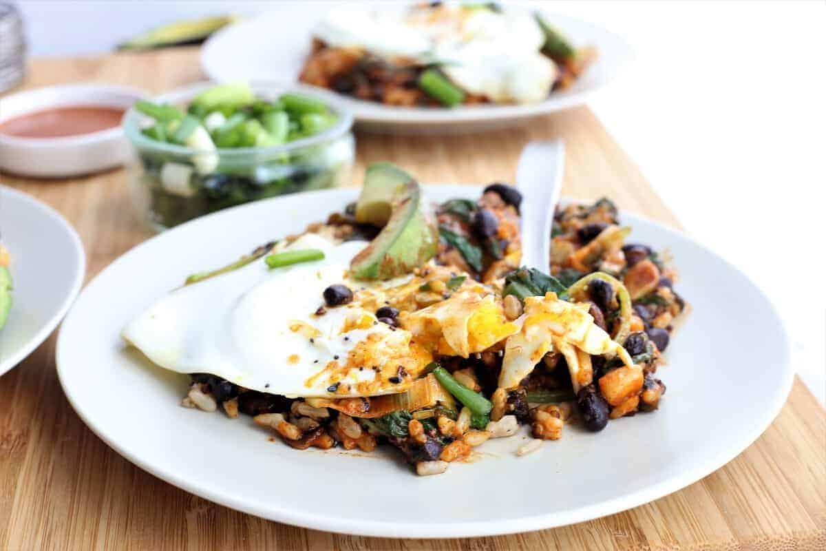 Kale Breakfast Bowl With Rice and Beans