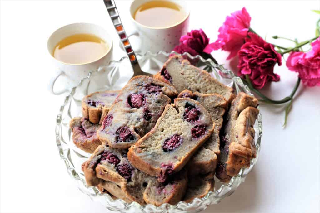 Vegan Banana Blackberry Bread serving