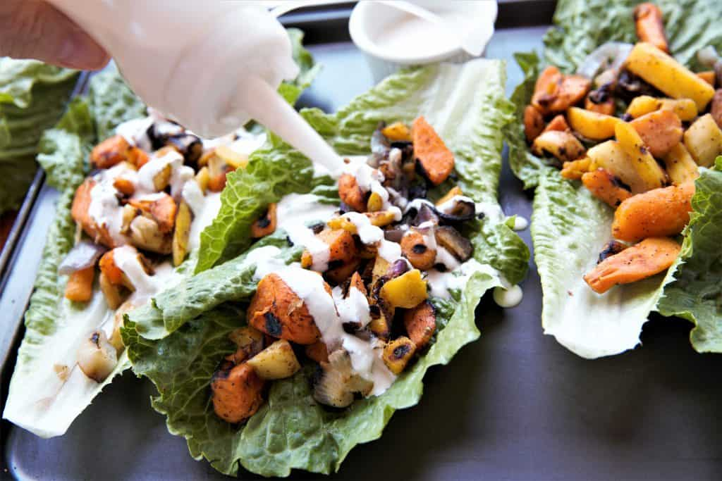 Roasted Vegetable Lettuce Wraps