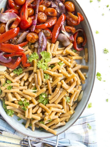 Garlic Lentil Vegetable Pasta