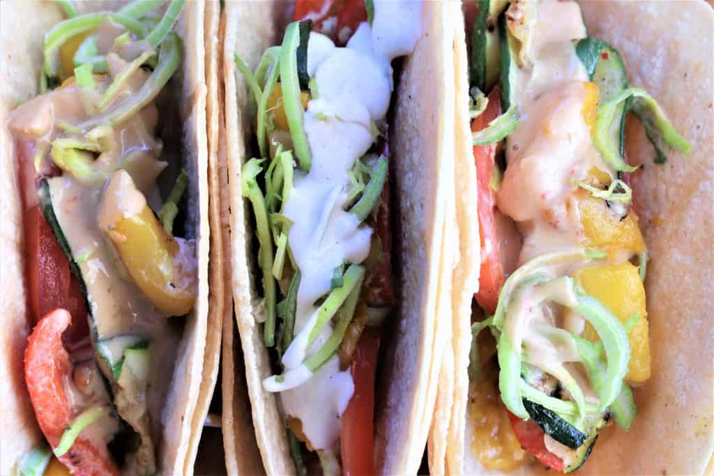 Grilled Vegetable Tacos close