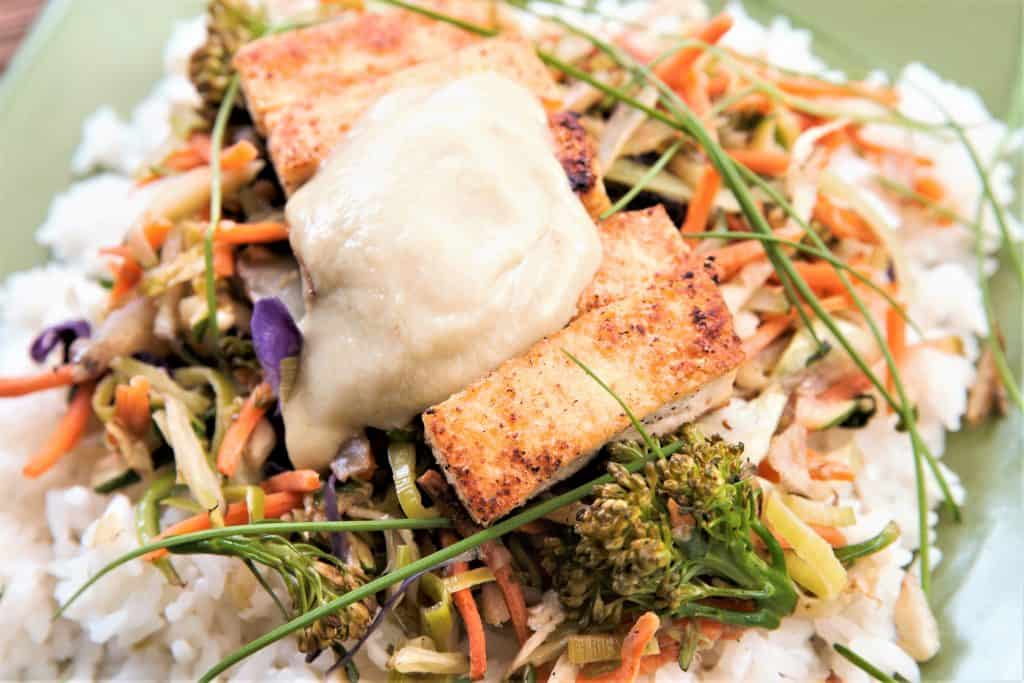 Crispy Tofu Stirfry with Thai Green Curry Simmer Sauce