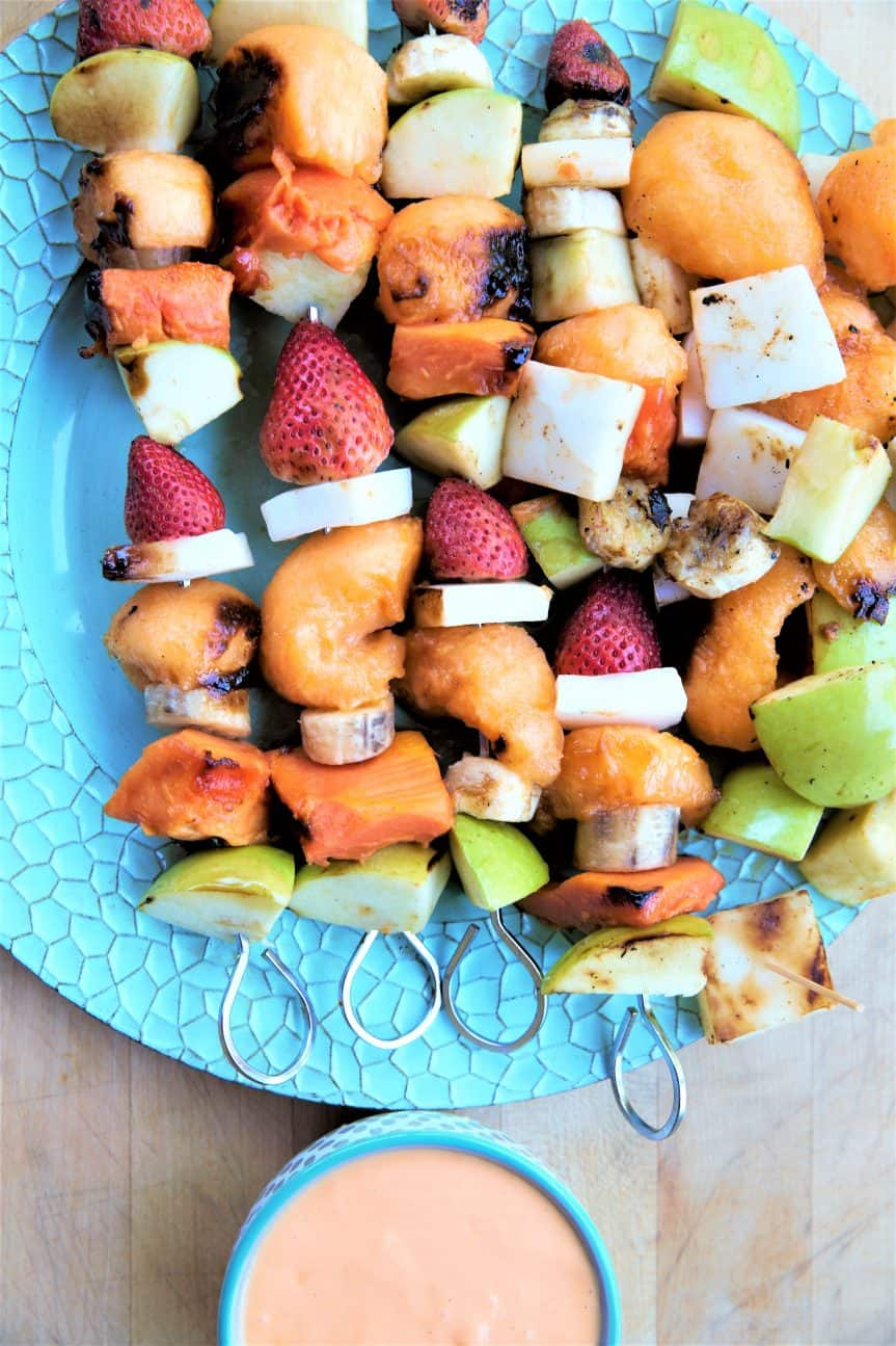 Grilled Fruit Kabobs With Papaya Creme