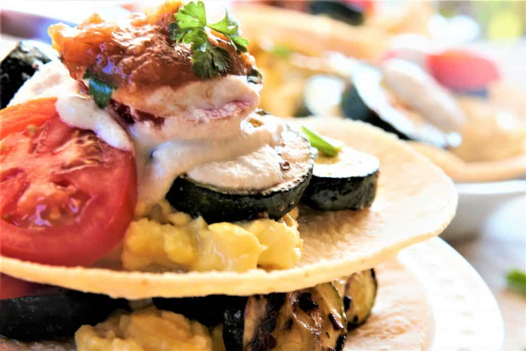Grilled Vegetable Breakfast Tacos single
