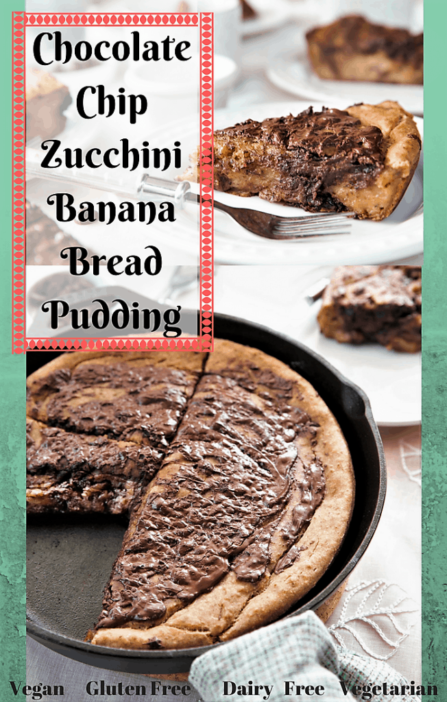 Chocolate Chip Zucchini Banana Bread Pudding