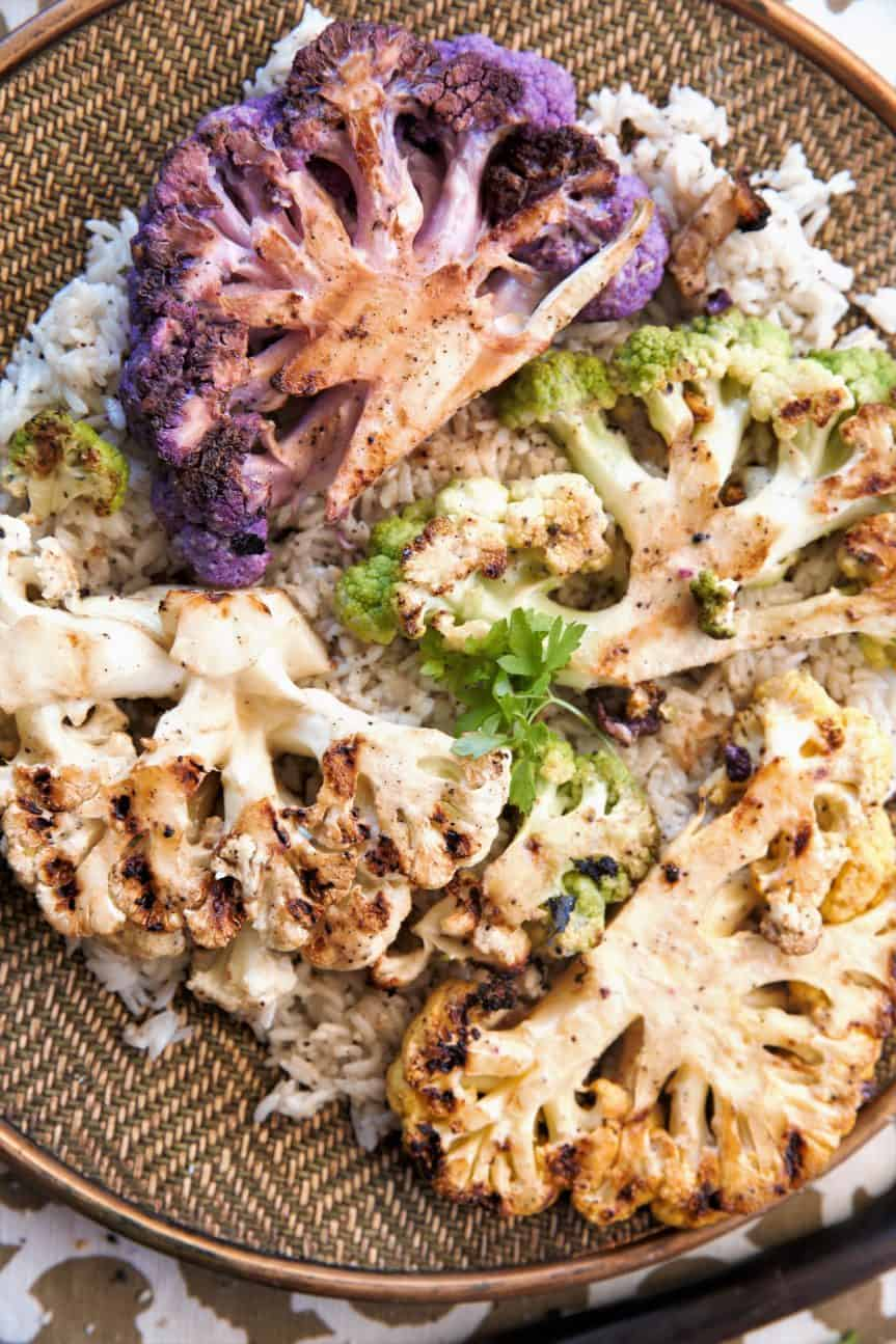 Grilled Sesame Ginger Cauliflower Steaks