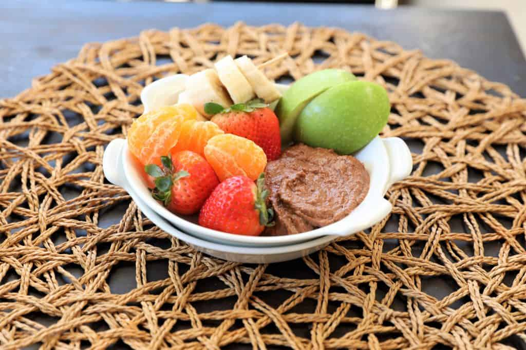 Plate of chocolate hummus and fruit