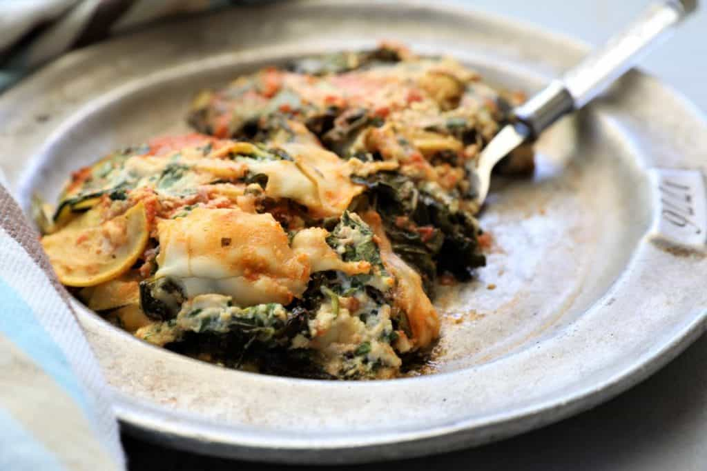 Serving of zucchini kale lasagna