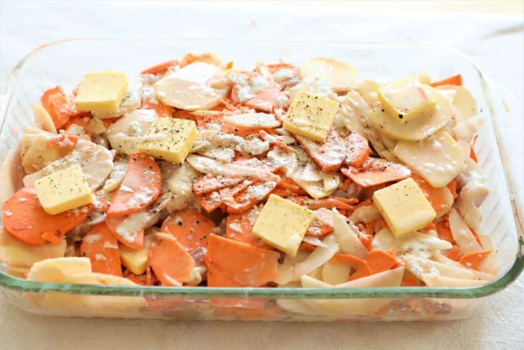 Scalloped Potatoes in baking dish
