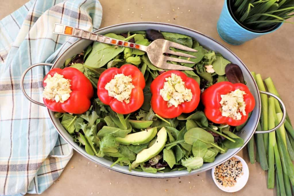 4 Tuna Egg Salad Stuffed Peppers on bed of greens