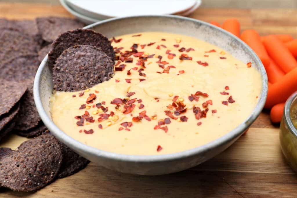 homemade vegan queso dip with chip