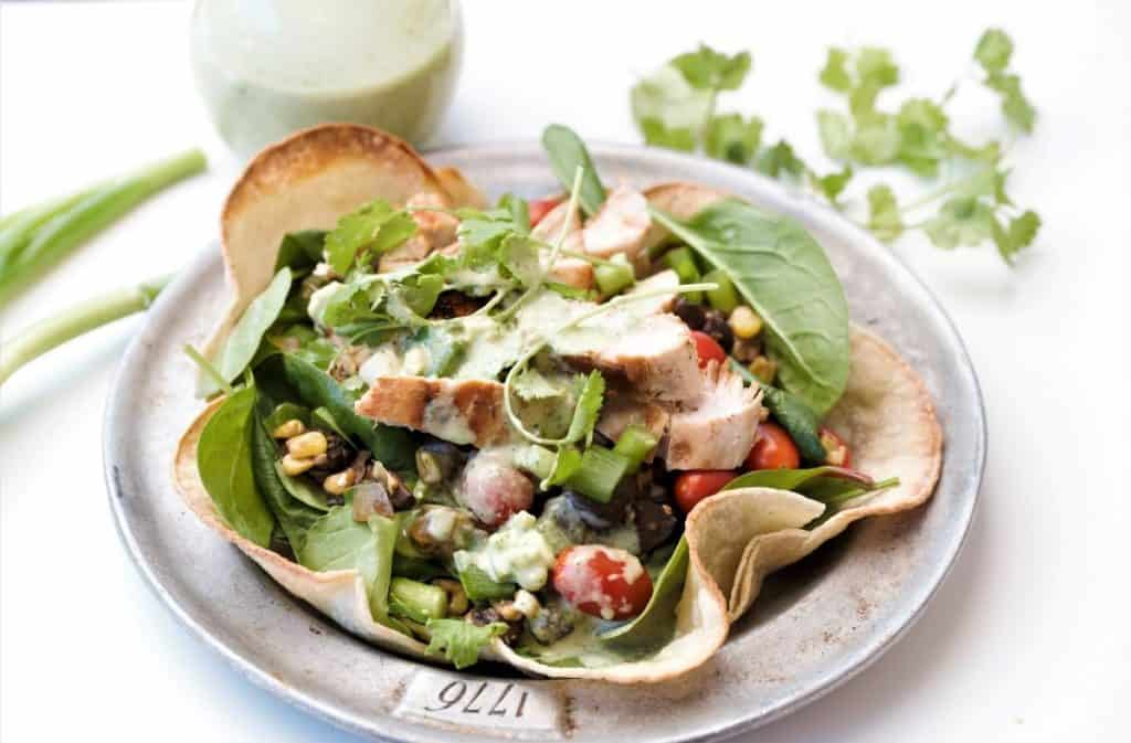 Grilled Chicken Taco Sald with cilantro dressing
