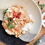 Instant Pot Spicy Peanut Chicken served on plate with rice
