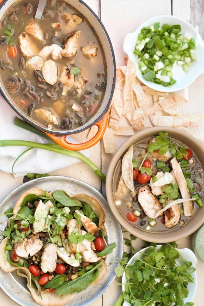 Grilled Chicken Tortilla Soup with salad