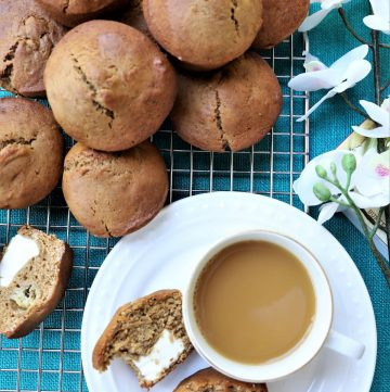 Banana Cream Cheese Muffins with coffee