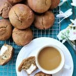 12 Cream Cheese Banana Muffin with tea and flowers
